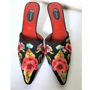 Black floral embroidery mules slides heels 8